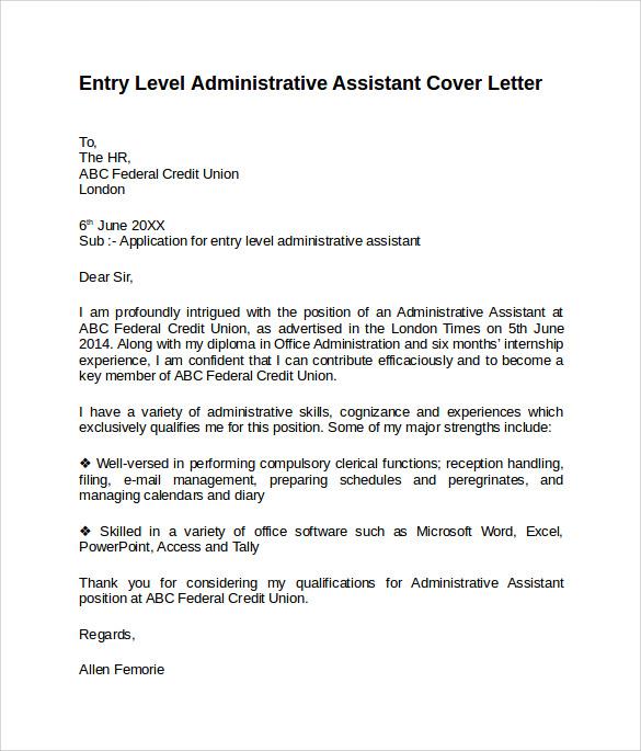 resume cover letter samples for administrative assistant job