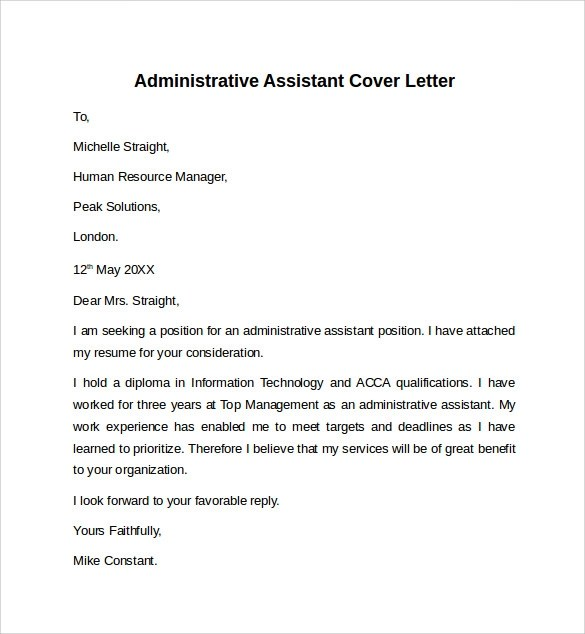 Administrative Assistant Cover Letter  9 Free Samples  Examples  Formats
