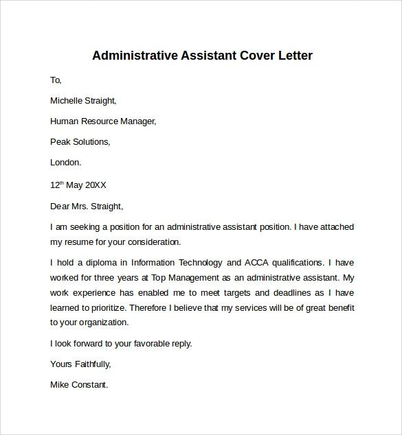 cover letter samples administrative assistant