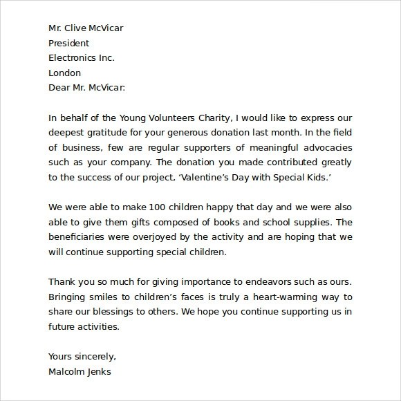 Business Thank You Letter Thank You Letter To Client For Giving