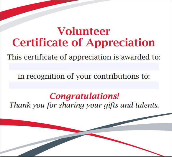 11+ Volunteer Certificate Templates   Sample Templates