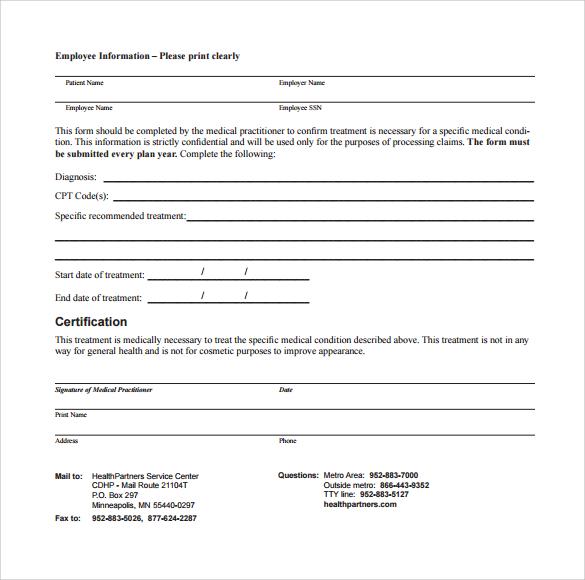 Sample Letter Of Medical Necessity Form 12 Download