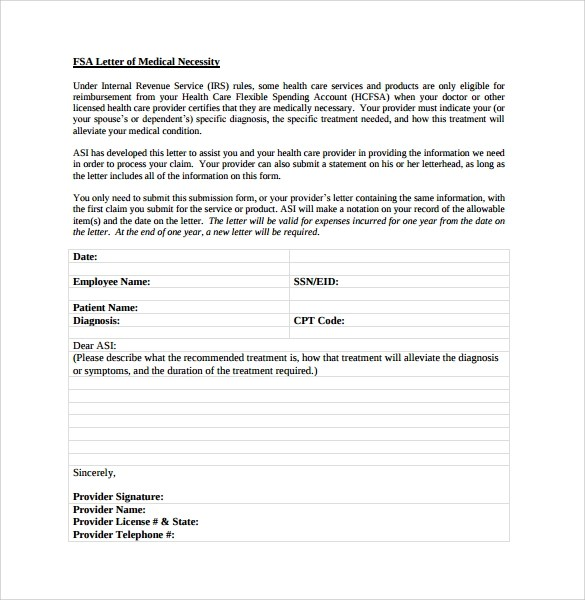Sample Letter of Medical Necessity Form  12 Download Free Documents in PDF Word