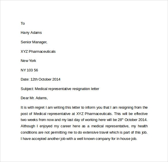 9 Resignation Letters  Samples Examples  Formats  Sample Templates