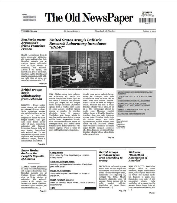 12 Old Newspaper Templates to Download  Sample Templates