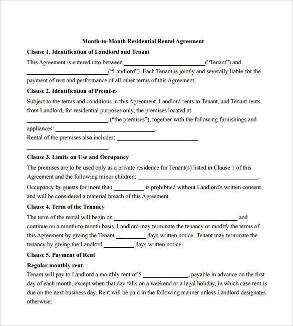 12 Month to Month Rental Agreement Form Templates to Download ...