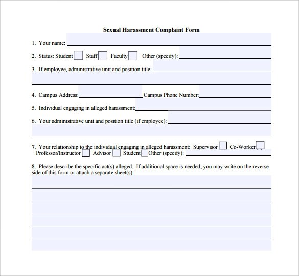 Sample sexual harassment complaint form