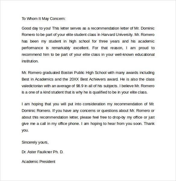 Recommendation Letter  8 Samples  Examples  Formats