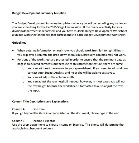 8 Budget Summary Templates  Samples Examples  Formats  Sample Templates