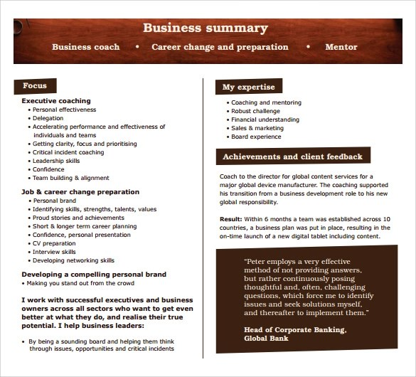 9 Business Summary Templates – Samples, Examples & Formats ...