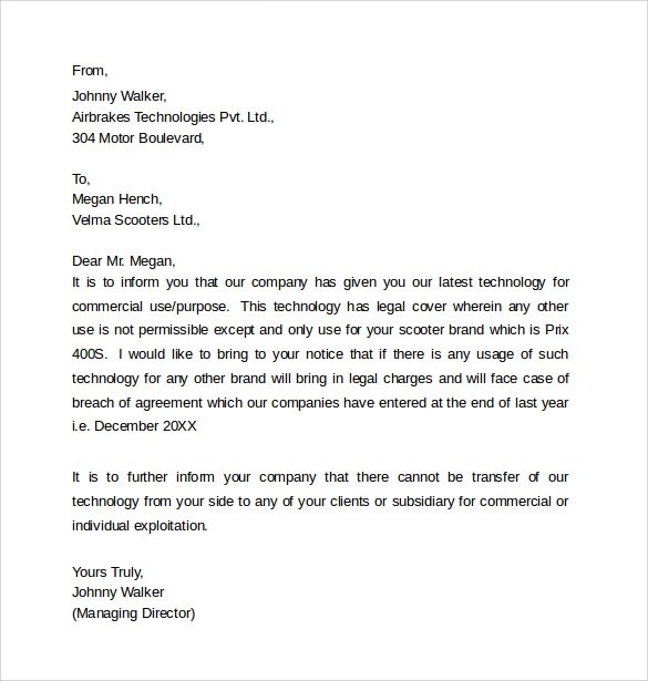 8 Legal Letter Templates  Samples  Examples  Formats  Sample Templates