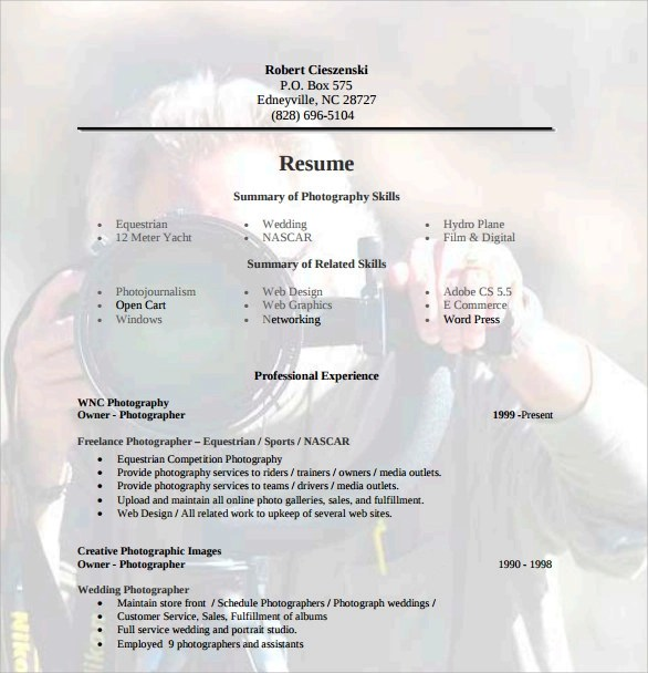 sample photographer resume template 19 download in pdf psd word
