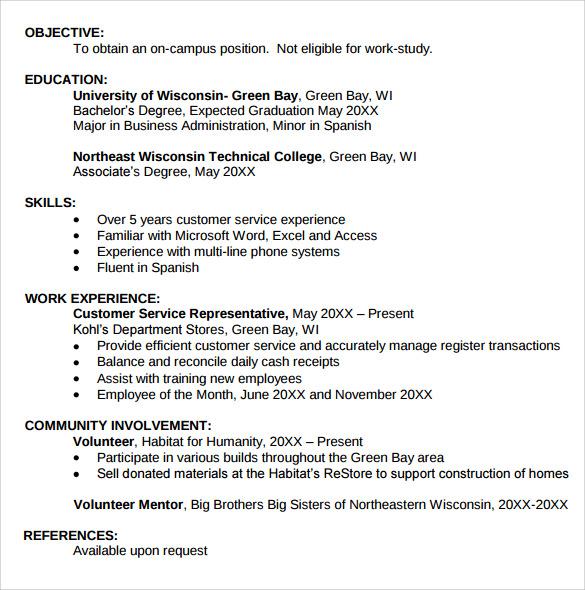 12 Student Resume Templates  Sample Templates