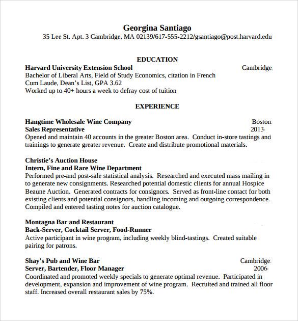resume templates server bartender. bartender resume samples ...