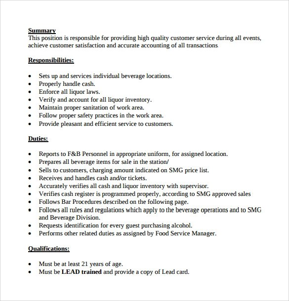 8 Bartender Resume Templates Download For Free Sample
