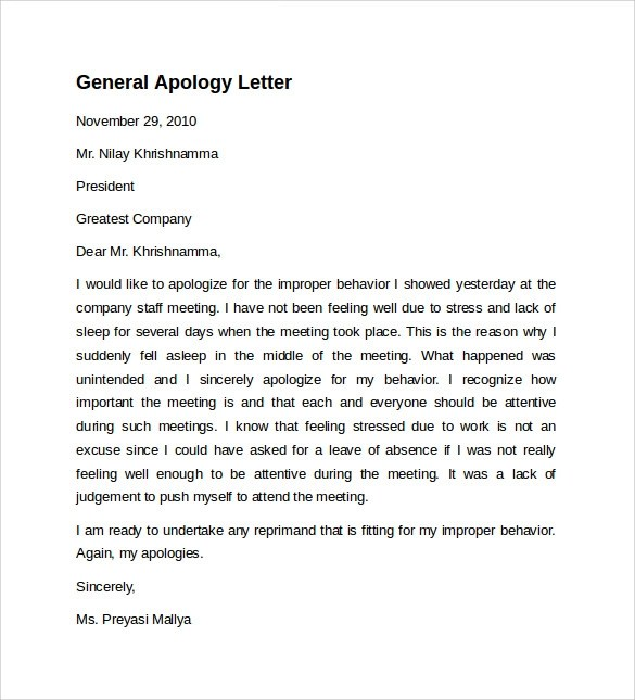 10 Sample Letters Of Apology To Download Sample Templates