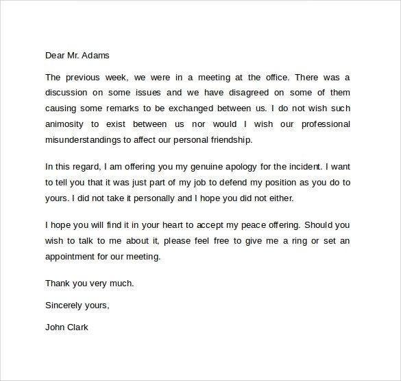 10 Professional Apology Letters Download For Free Sample