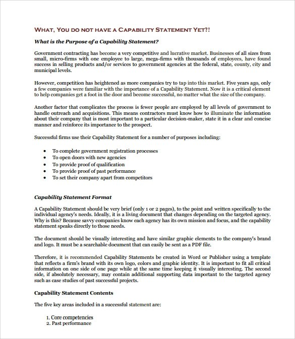 15 Capability Statement Templates – PDF Word Pages