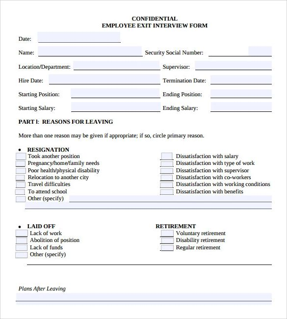employee exit interview template word