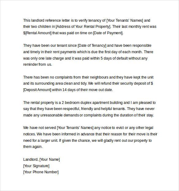 Tenant Recommendation Letter Sample | Docoments Ojazlink