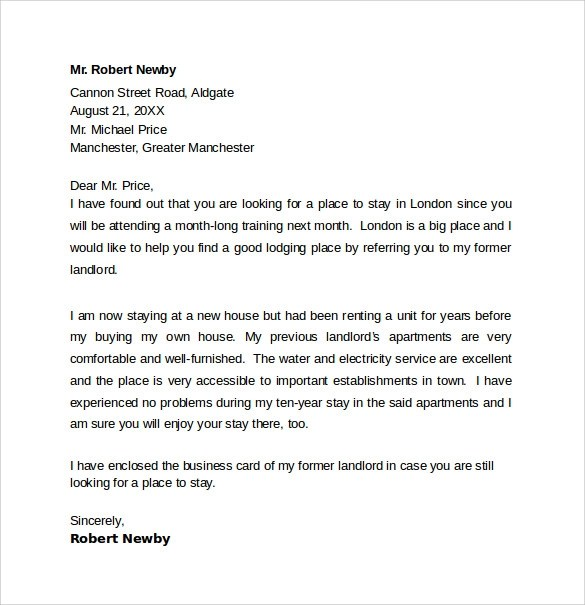 Landlord Reference Letter Template  10 Samples