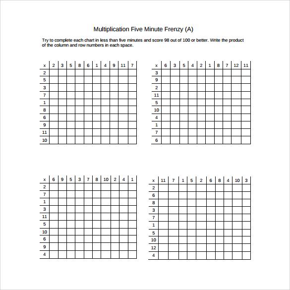 FREE 9+ Sample Multiplication Frenzy Worksheet Templates