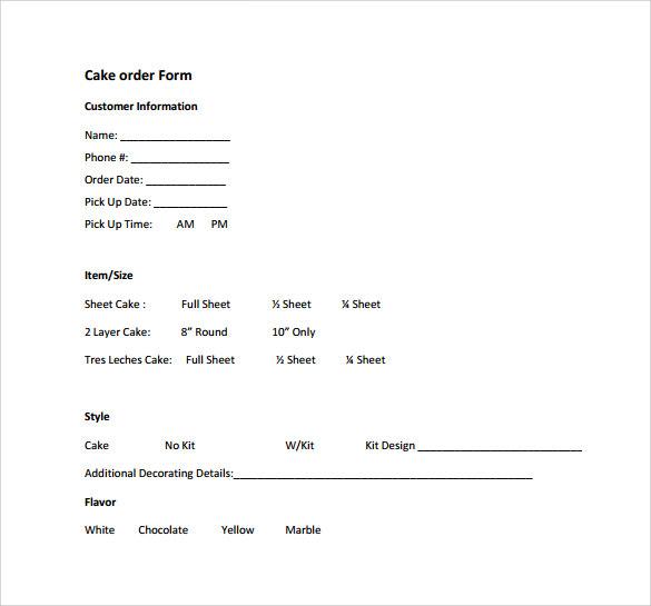 Sample Cake Order Form Template ] | Sample Cake Order Form Templates