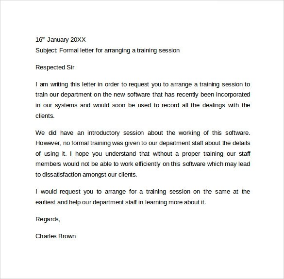Formal Letter Format  9 Free Samples Examples  Formats