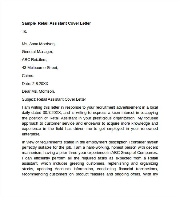 covering letter for retail job