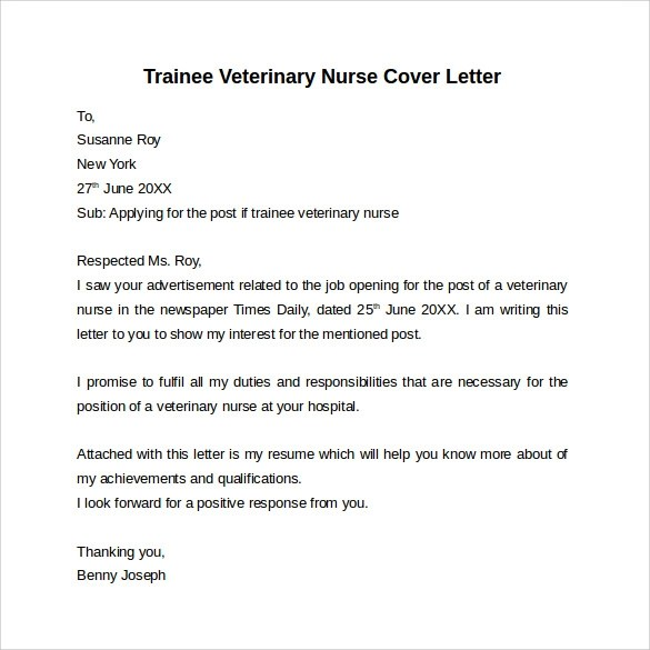Nursing Cover Letter Template  9 Free Samples Examples  Formats