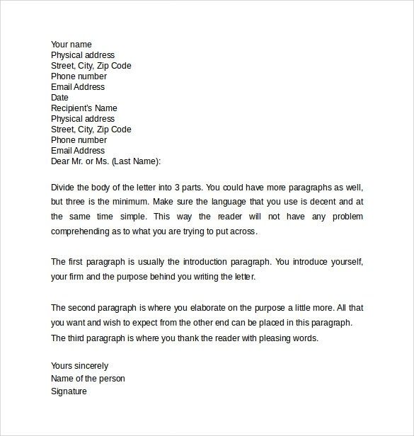 Professional Letter 12 Samples Examples & Formats