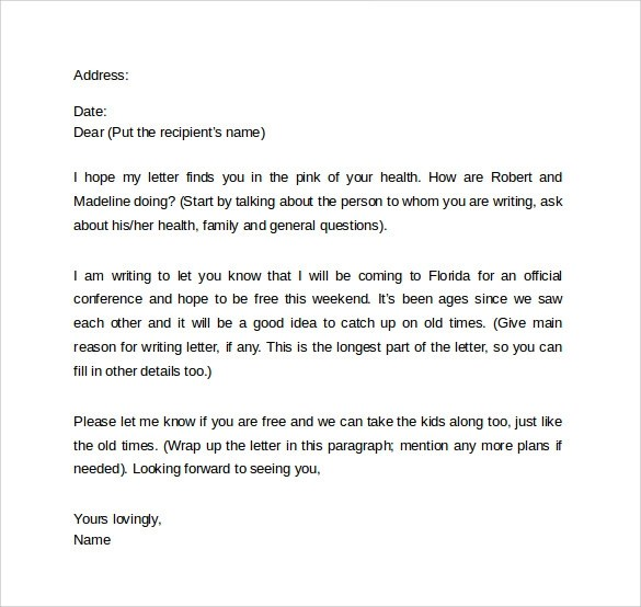 10 Friendly Letters  Samples  Examples  Formats  Sample Templates