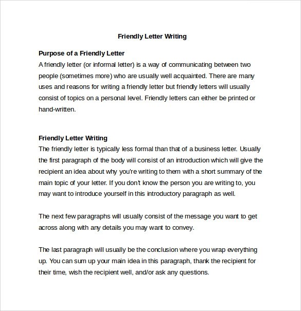 14 Friendly Letter Templates & Samples DOC PDF