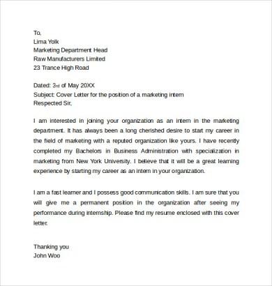 Cover Letter For Marketing Internship - Cover Letter Templates