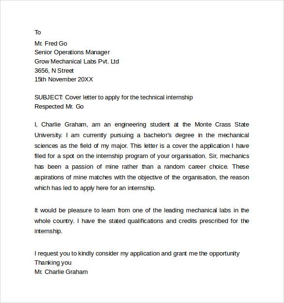 Internship Cover Letter  13 Samples  Examples  Formats