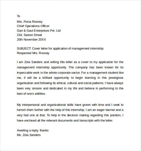 cover letter format for internship application