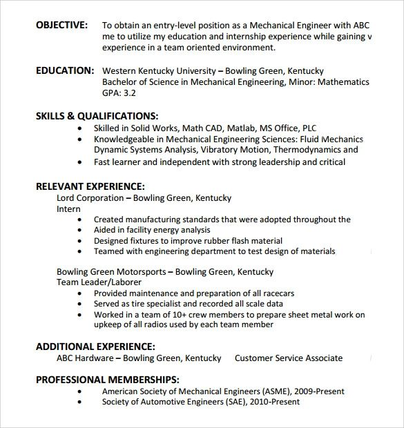 resume entry level objective statement examples