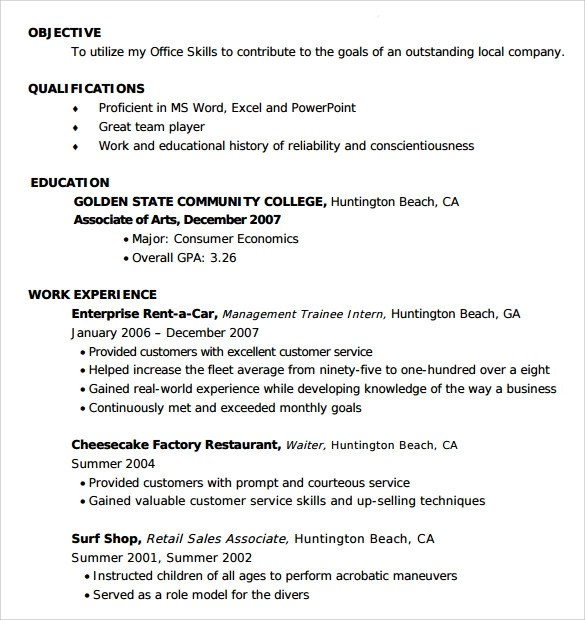 Sample Entry Level Resume  8 Documents in PDF Word