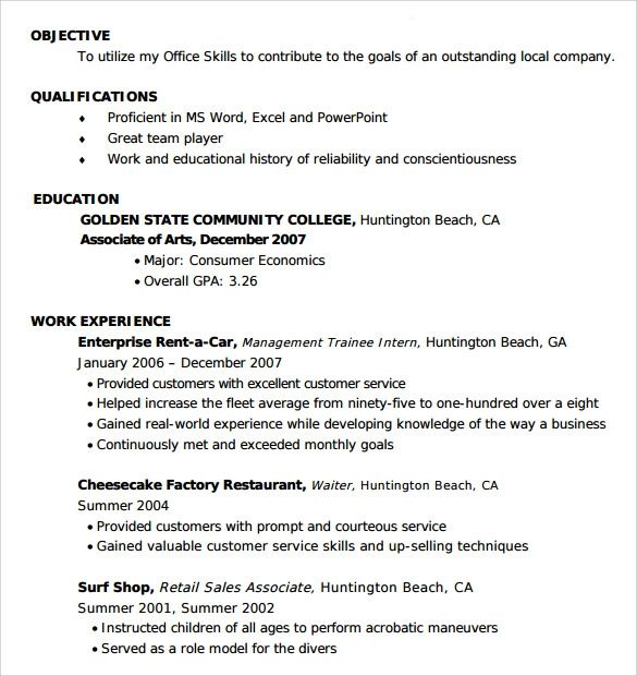 entry level resume samples free in word