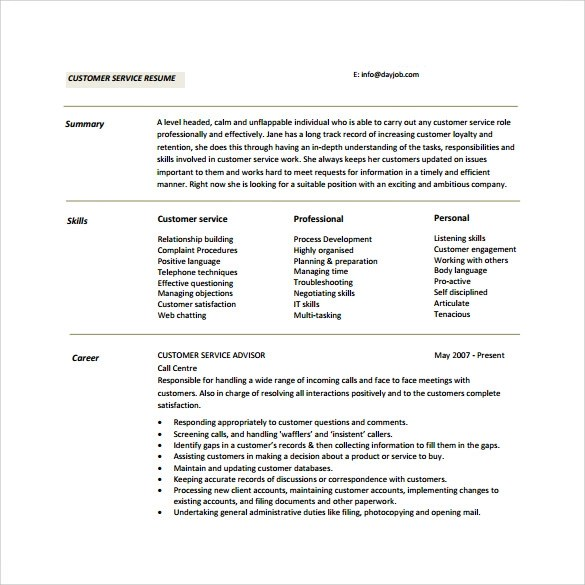 Customer Service Resume 10 Download Free Documents In