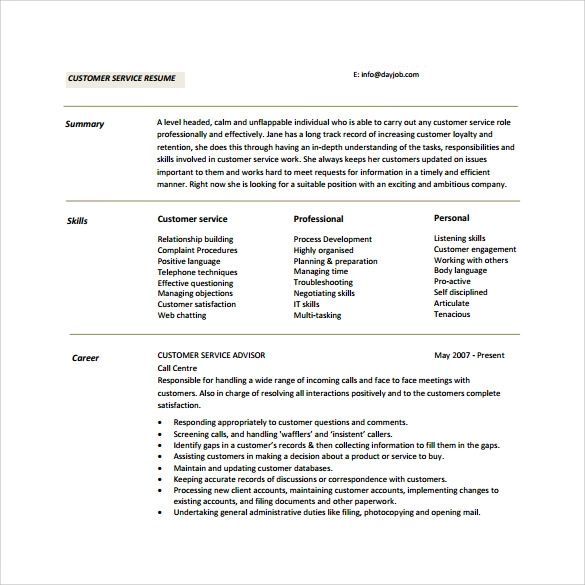 customer service summary for resume examples