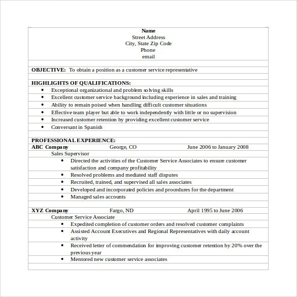11 Customer Service Resumes To Download Sample Templates