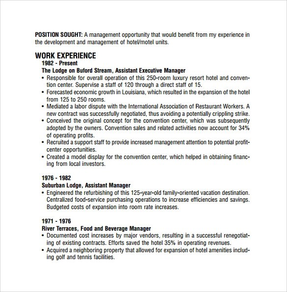 9 Sample Restaurant Resume Templates to Download  Sample Templates