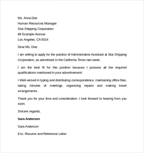 Administrative Assistant Cover Letter Template  9 Free Samples Examples  Format
