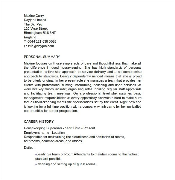 professional summary for resume housekeeping