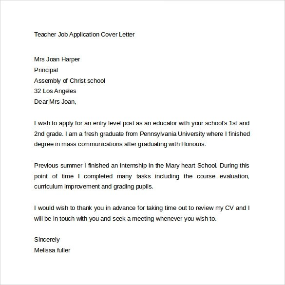 Teaching Job Application Cover Letter | Resume Cv Cover Letter