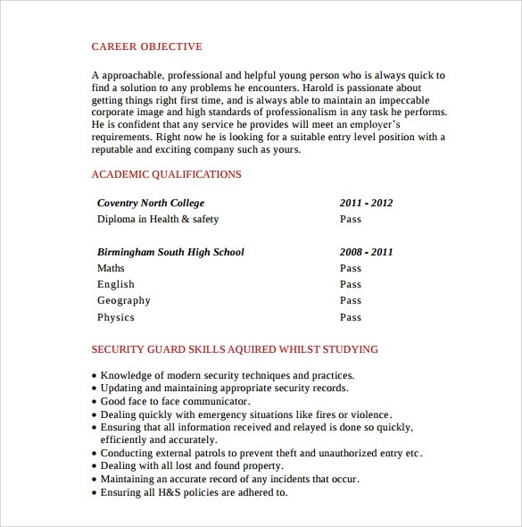 8 Security Guard Resume Templates To Download Sample