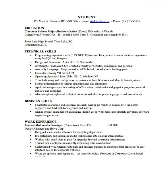 12 Computer Science Resume Templates To Download Sample