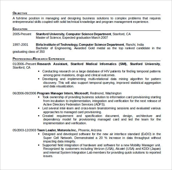 science cv template