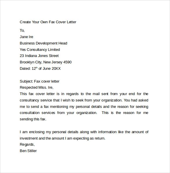 10 Fax Cover Letter Templates  Samples Examples  Format  Sample Templates